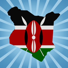 Kenya map flag on blue sunburst illustration
