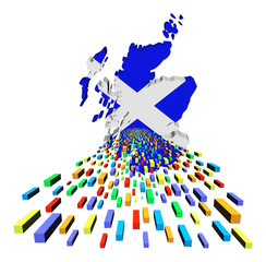Scotland map flag with containers illustration