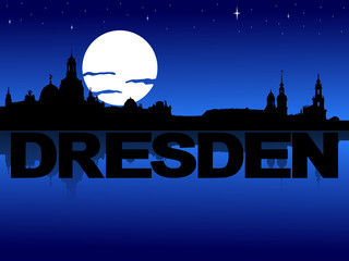 Dresden skyline reflected with text and moon illustration