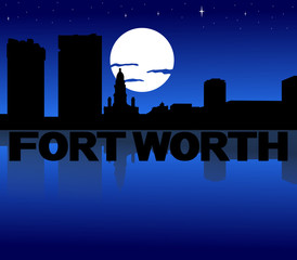 Fort Worth skyline reflected with text and moon illustration