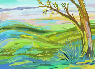Abstract Art Nature Background, Oil Painting (Raster Art)