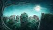 Leinwanddruck Bild - Spooky old graveyard