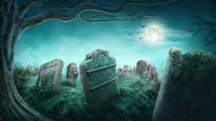 Spooky old graveyard