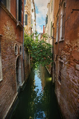 Narrow water canal in Venice