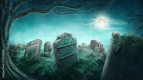 Poster Begraafplaats Spooky old graveyard