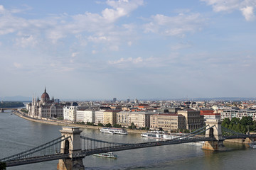 Chain bridge and Hungarian Parliament Budapest