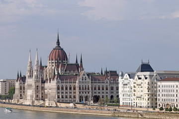Hungarian Parliament on Danube river Budapest