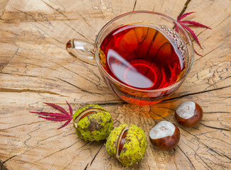 autumnal tea with chestnuts