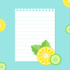 Lined Notepad Paper on Narural Food Background