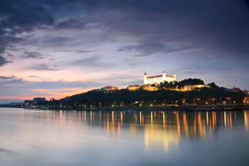 View of the Bratislava castle over the river Danube, Slovakia.