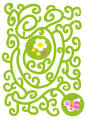 flowers and butterfly- maze for kids/ vectors