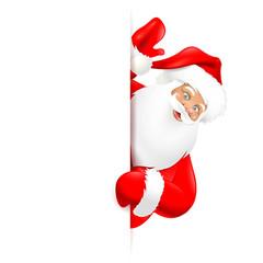 Weihnachtsmann hinter Board