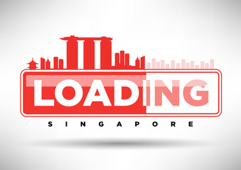 Singapore Skyline Loading Typographic Design