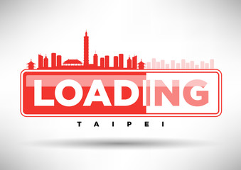 Taipei Skyline Loading Typographic Design