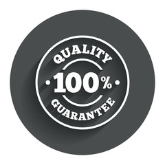 100% quality guarantee icon. Premium quality.