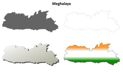 Meghalaya blank detailed outline map set