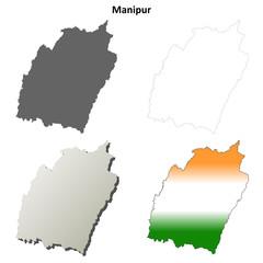 Manipur blank detailed outline map set
