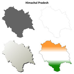Himachal Pradesh blank detailed outline map set