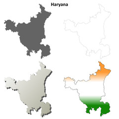 Haryana blank detailed outline map set