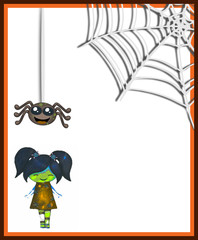 Cute scary girl with smiling spider and web