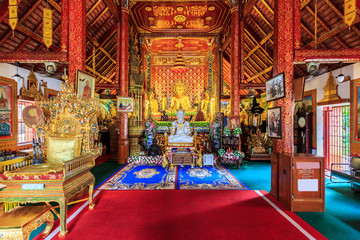 Interior of Wat Phra Sing temple in Chiang Rai, Thailand