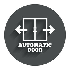 Automatic door sign icon. Auto open symbol.