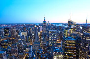 Cityscape view of Manhattan with Empire State Building at night