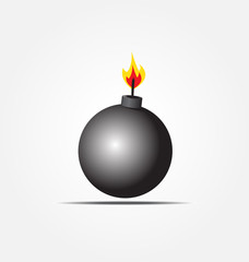 black bomb icon about to explode with burning wick vector illus