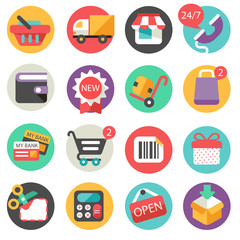 shoping icons -  flat design