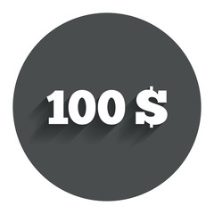 100 Dollars sign icon. USD currency symbol.