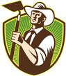 Organic Farmer Holding Grab Hoe Shield