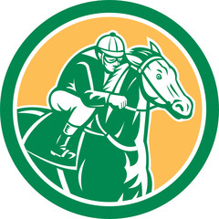 Jockey Horse Racing Circle Retro