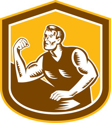 Arm Wrestling Champion Woodcut Shield