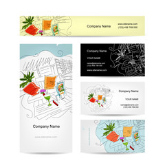 Set of business cards design, cocktail in beach cafe