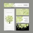 Business cards design, spring tree floral
