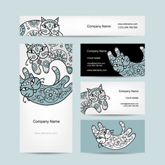Art cats with floral ornament. Business cards design