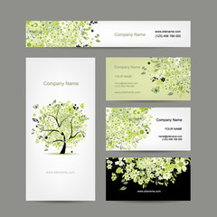 Business cards design, spring tree floral