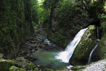 waterfall in Cheile Galbenei in Bihor mountains in Romania