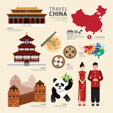 Fototapety China Flat Icons Design Travel Concept.Vector