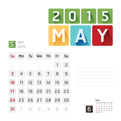 2015 Calendar Calendar Vector  Design. May