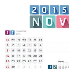 2015 Calendar Calendar Vector  Design. November
