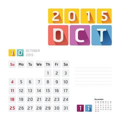 2015 Calendar Calendar Vector  Design. October