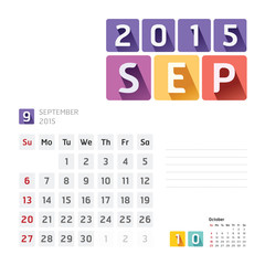 2015 Calendar Calendar Vector  Design. September