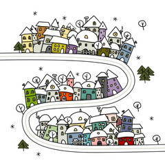 Road and houses, winter cityscape cartoon for your design