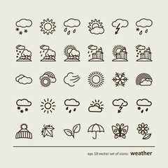 Set with icons - weather