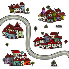Road and houses, cityscape cartoon for your design