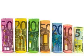 gerollte Euro Banknoten
