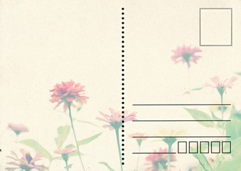 old postal card with flower in retro style