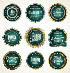 Luxury gold and green premium quality labels collection