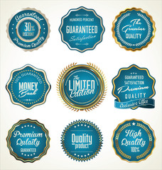Luxury gold and blue premium quality labels collection